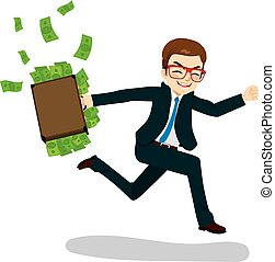 Businessman Running with Money - Young businessman happy...