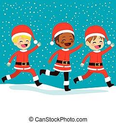 Christmas Santa Children Running