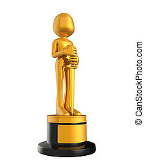 Golden Statuette Award isolated on white background. 3D...