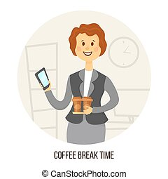 Young businesswoman or office worker with two cups coffee and smartphone in hands. Socializing Concept. Vector illustration
