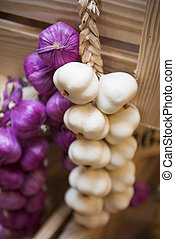 onion and garlic plastic model for decoration in restaurant