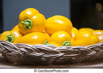 pepper plastic model on basket for decoration in restaurant