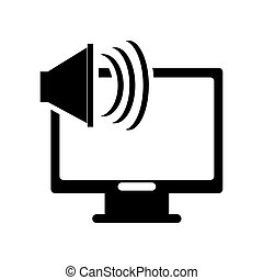 computer monitor and speaker icon - flat design computer...