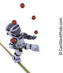 robot juggling - 3D render of a robot juggling balls on...