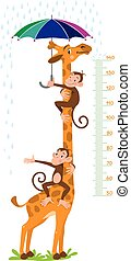 Giraffe and monkeys. Meter wall or height chart - Cheerful...