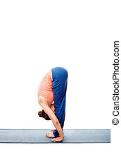 Woman doing Ashtanga Vinyasa Yoga Surya Namaskar Sun...