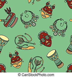 Pattern with voodoo vector symbols. - Seamless pattern with...