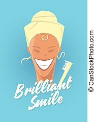 Poster with woman smiling. White healthy teeth, toothbrush or toothpaste advertisement. Retro style. Denist service, stomatology