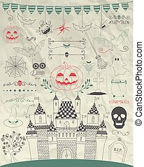 Vector Hand Sketched Doodle Halloween Icons on Crumple Paper...