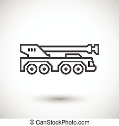 Heavy mobile crane line icon isolated on grey Vector...