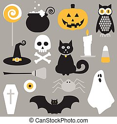 Halloween flat icons design Candy corn, lollypop, pumpkin,...