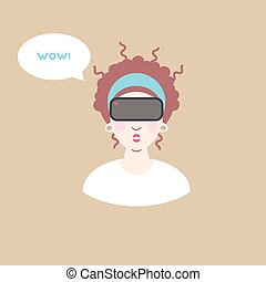 Virtual reality glasses. Vector illustration with surprised...
