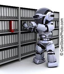 robot filing documents - 3D Render of robot filing documents