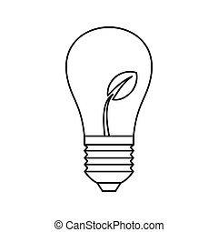 Light bulb with sprout icon, outline style