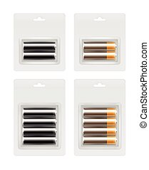Set of Alkaline AA Batteries in Transparent Blister Packed -...