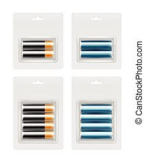 Set of Alkaline AA Batteries in Transparent Blister Packed