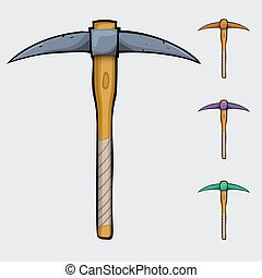pickaxe cartoon isolated - cartoon pickaxe, comics...