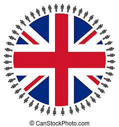 British flag with people - Round British flag with circle of...
