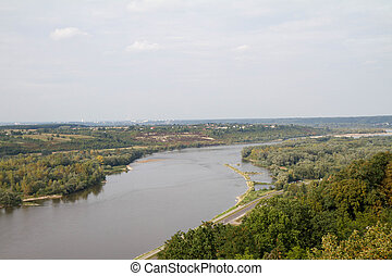 Vistula river landscape, view from the castle tower at...