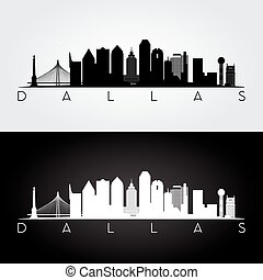 Dallas skyline silhouette - Dallas USA skyline and landmarks...