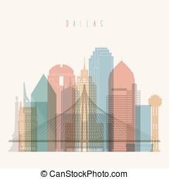 Dallas Texas poster - Transparent styled Dallas state Texas...