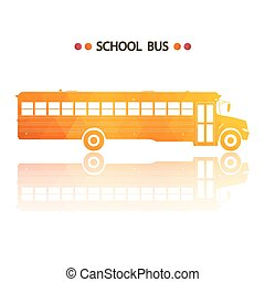 Yellow school bus icon - Vector yellow school bus isolated...
