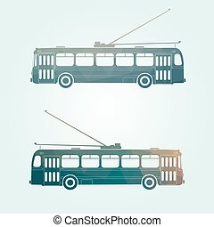 Retro trolley bus icon - Retro public transport vehicle city...