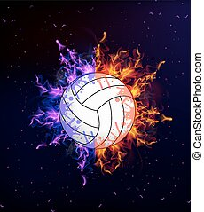 volleyball on fire - Volleyball ball on fire, vector art...