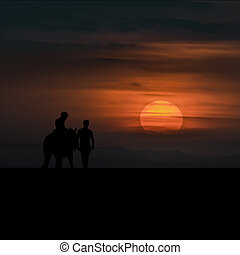Child Riding A Horse with Adult Man at Sunset