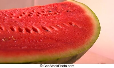 Water melon closeup 4K pan shot - Cut water melon closeup 4K...
