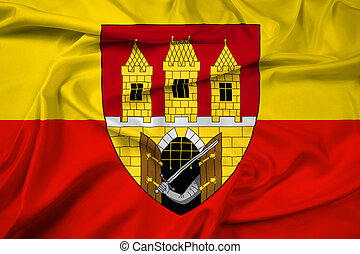 Waving Flag of Prague with Coat of Arms (Escutcheon only),...