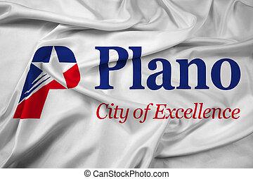 Waving Flag of Plano, Texas, USA