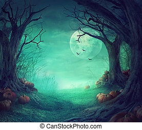 Halloween design - Halloween background. Spooky forest with...
