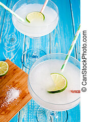 Two glases of frozen margarita - Two glasses of frozen...
