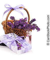 lavender soap on a white background
