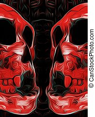 red skull with black background