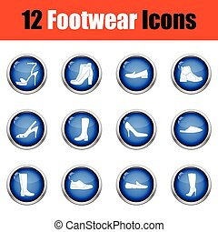 Set of footwear icons. Glossy button design. Vector...