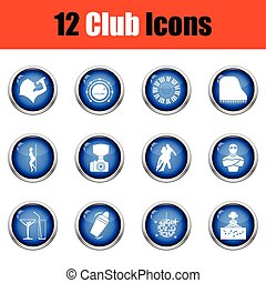 Set of twelve Night club icons Glossy button design Vector...