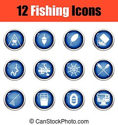 Fishing icon set Glossy button design Vector illustration...