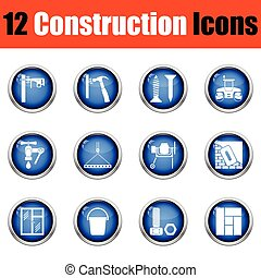 Construction icon set. Glossy button design. Vector...