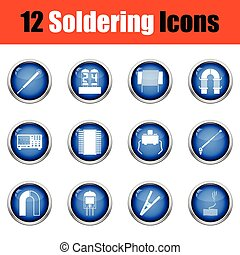 Set of twelve soldering icons. Glossy button design. Vector...