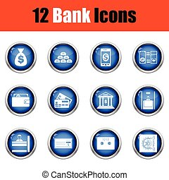 Set of bank icons. Glossy button design. Vector...