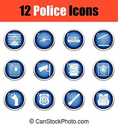 Set of police icons Glossy button design Vector illustration...