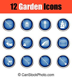 Set of gardening icons. Glossy button design. Vector...