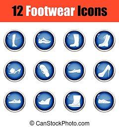 Set of footwear icons.
