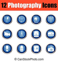 Photography icon set. Glossy button design. Vector...
