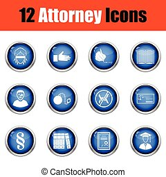 Set of attorney icons Glossy button design Vector...