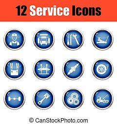 Set of twelve Service station icons. Glossy button design....