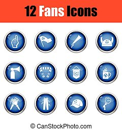 Set of soccer fans icons.