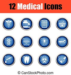 Medical icon set. Glossy button design. Vector illustration....